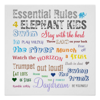 Inspirational Fun Elephant Kid Rules Typography Poster