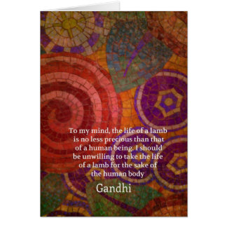 Inspirational Gandhi animal rights quote ART Card