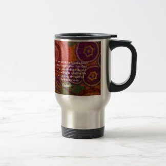 Inspirational Gandhi animal rights quote ART 15 Oz Stainless Steel Travel Mug