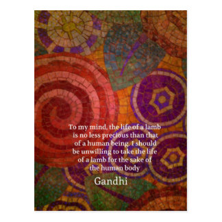 Inspirational Gandhi animal rights quote ART Postcard