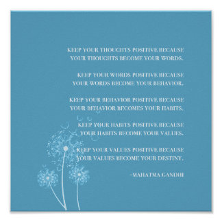 Inspirational Gandhi Quote Positive Thinking Habit Poster