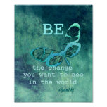 inspirational Gandhi quote poster teal butterfly