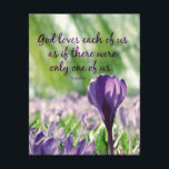 """Inspirational God Loves Each of Us Quote Canvas Print<br><div class=""""desc"""">God Loves Each of Us as if there were only one of us Augustine Quote Canvas Prints with beautiful purple flowers background (retro filter and bokeh lights accents)</div>"""