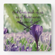 Inspirational God Loves Each of Us Quote Wall Clock