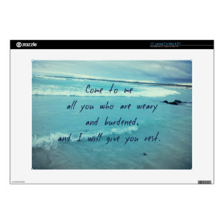 "Inspirational God quote Bible verse Come To Me 15"" Laptop Skins"