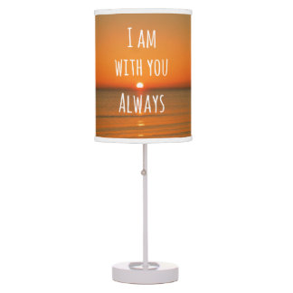Inspirational God Quote: Bible Verse I am With You Table Lamp