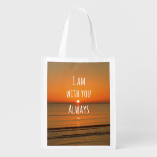Inspirational God Quote: Bible Verse I am With You Market Tote