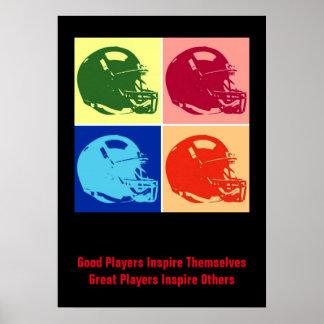 Inspirational Good Players Pop Art Football Helmet Poster