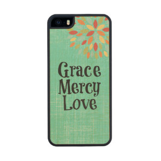 Inspirational: Grace, Mercy, Love Carved® Maple iPhone 5 Slim Case