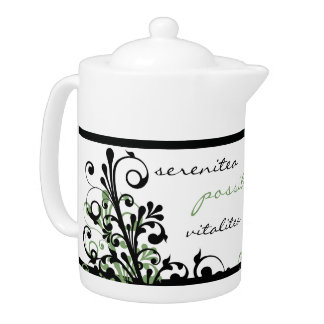 Inspirational Green and Black Floral Teapot