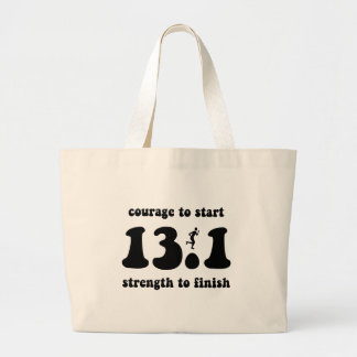 Inspirational half marathon large tote bag