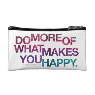 inspirational Happy quote Glitter Clutch Makeup Bags