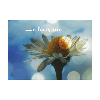 Inspirational He loves me Quote with Daisy Canvas Print