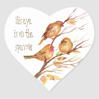 Inspirational His Eye is on the Sparrow, Heart Sticker