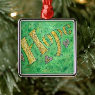 Inspirational Hope Word Art Custom Gift Ornaments