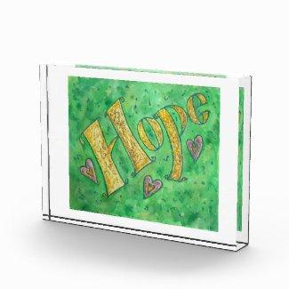 Inspirational Hope Word Art Custom Paperweight Acrylic Award