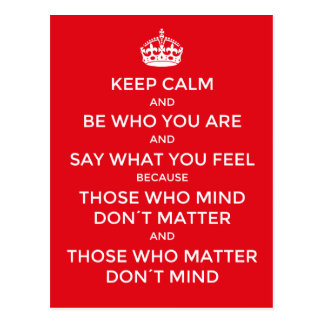 Inspirational idea: Keep calm and be who you are, Postcard