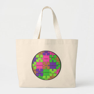 INSPIRATIONAL JIGSAW PUZZLE QUOTE LARGE TOTE BAG