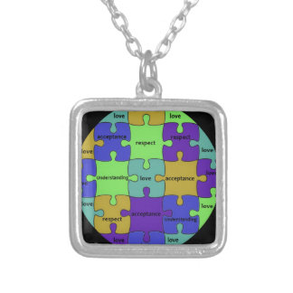 INSPIRATIONAL JIGSAW PUZZLE QUOTE SILVER PLATED NECKLACE