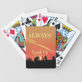 Inspirational Landscape Horizon Always Look Up Bicycle Playing Cards