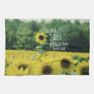Inspirational: Let Your Faith Be Bigger Than Fear Kitchen Towel