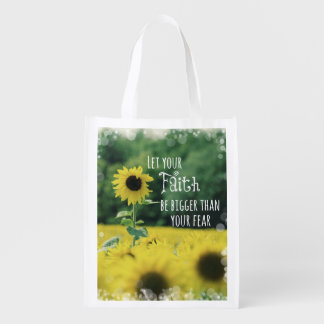 Inspirational: Let Your Faith Be Bigger Than Fear Reusable Grocery Bag