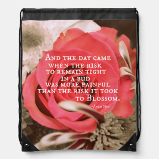 Inspirational Life Quote about Risk Anais Nin Backpack