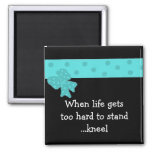 Inspirational Life Quote with Blue Bow 2 Inch Square Magnet
