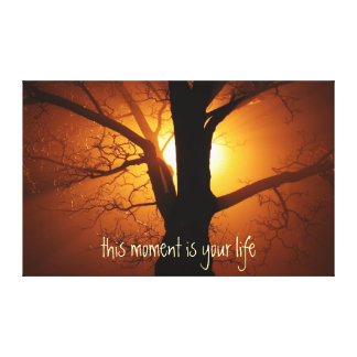 Inspirational Life Quote with Sun Canvas Print