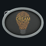 """Inspirational Light Bulb custom belt buckle<br><div class=""""desc"""">Using the &quot;customize it&quot; function,  you can change (edit) the background color of this item and add your own text if you wish. See my store for more items with this design.</div>"""