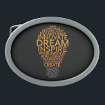 "Inspirational Light Bulb custom belt buckle<br><div class=""desc"">Using the &quot;customize it&quot; function,  you can change (edit) the background color of this item and add your own text if you wish. See my store for more items with this design.</div>"