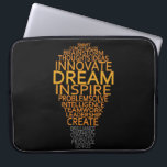 """Inspirational Light Bulb custom laptop sleeve<br><div class=""""desc"""">Using the &quot;customize it&quot; function,  you can change (edit) the background color of this item and add your own text if you wish. See my store for more items with this design.</div>"""