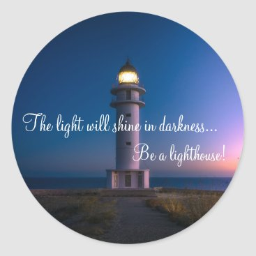 Inspirational light House Classic Round Sticker