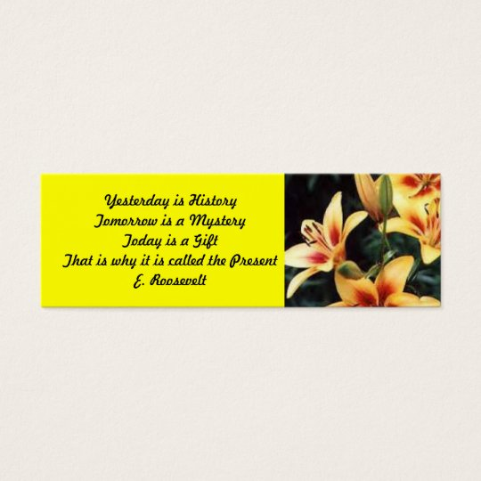 Inspirational Lily Bookmark Mini Business Card