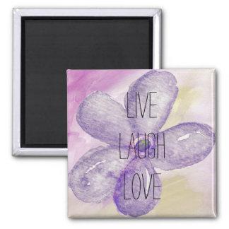 Inspirational Live, Laugh, Love Watercolor Flower Magnet