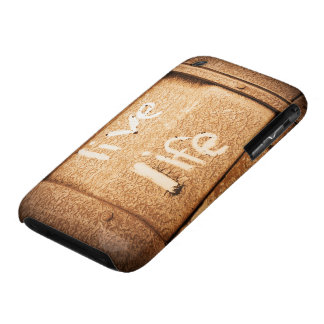 Inspirational live life rustic black and gold iPhone 3 case
