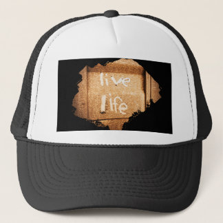 Inspirational live life rustic black and gold trucker hat