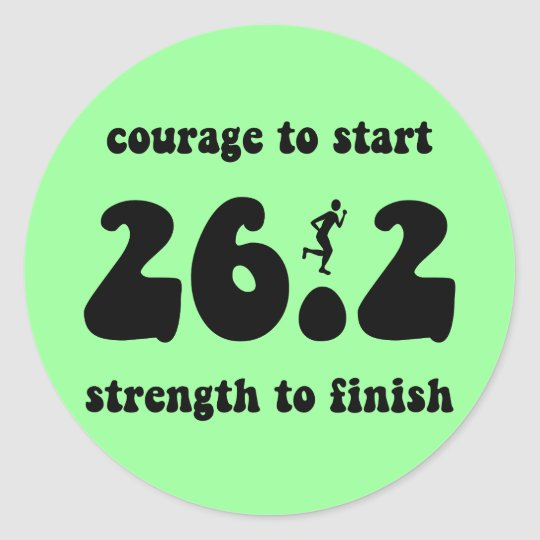 Inspirational marathon classic round sticker