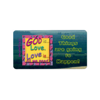 Inspirational Message God Is Love Personalized Address Label