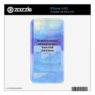 Inspirational Milton quote Paradise Lost Decal For iPhone 4