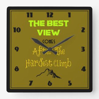 Inspirational Motivating Quote Typography Square Wall Clock