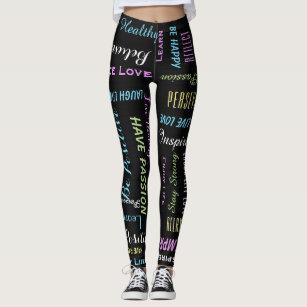 64af2bd3884154 Inspirational Motivational Black and Pastel Yoga Leggings