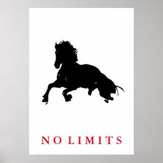 Inspirational No Limits Black White Horse Pop Art Poster