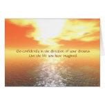 Inspirational Orange Sunset Over Calm Sea Card