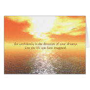 Inspirational Orange Sunset Over Calm Sea Card at Zazzle