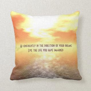 Inspirational Orange Sunset Over Sea Horizon Throw Pillow at Zazzle