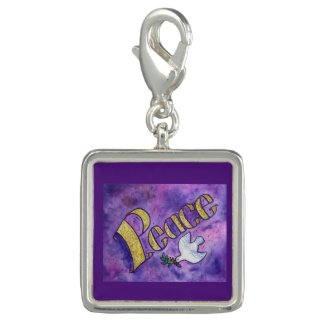Inspirational Peace Word Art Pendant Jewelry Charm