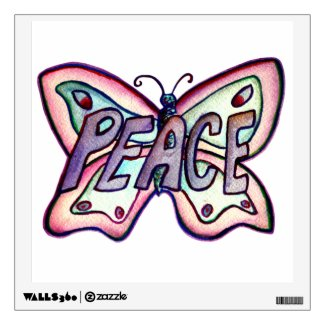 Inspirational Peace Word Butterfly Wall decal