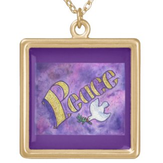 Inspirational Peace Word Charm Jewelry Necklace