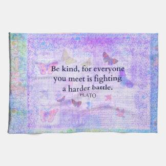 Inspirational Plato Compassion quote Towel